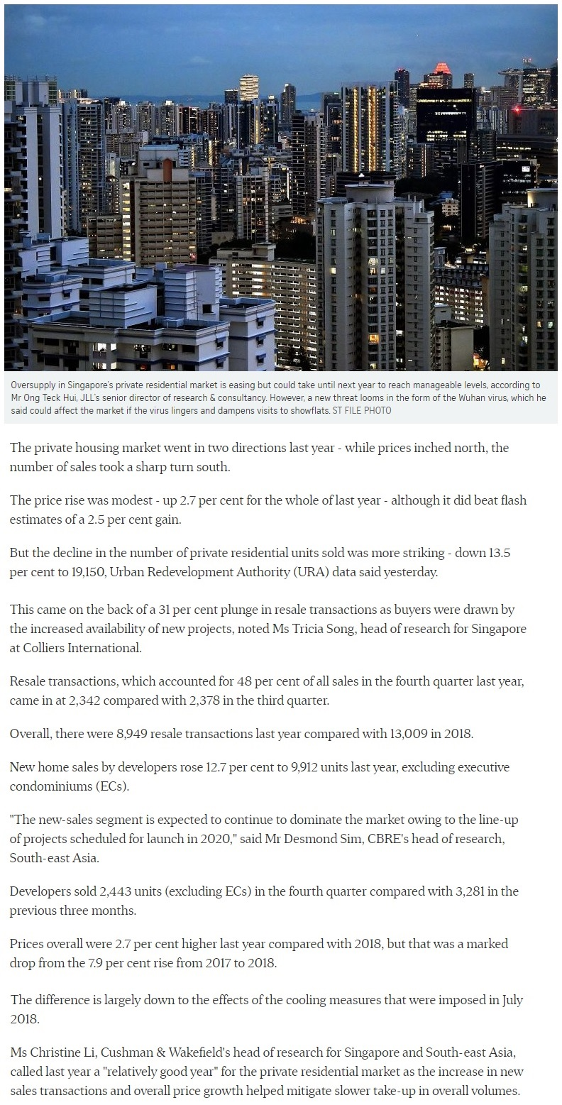 Ki Residences - Singapore private home prices inch up 2.7% for 2019 Part 1