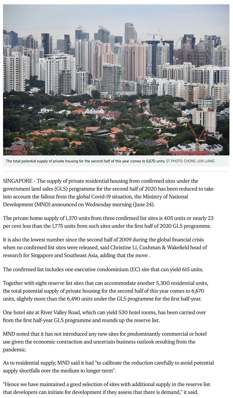 Ki Residences - Govt cuts private housing supply from confirmed land sale sites due to Covid-19 fallout Part 1