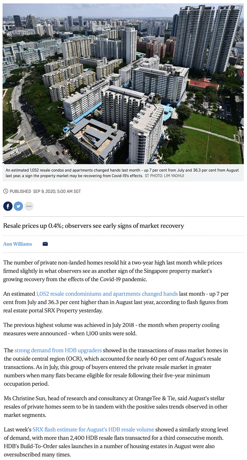 Ki Residences - Private home resale volume hits 2-year high in Aug: SRX 1