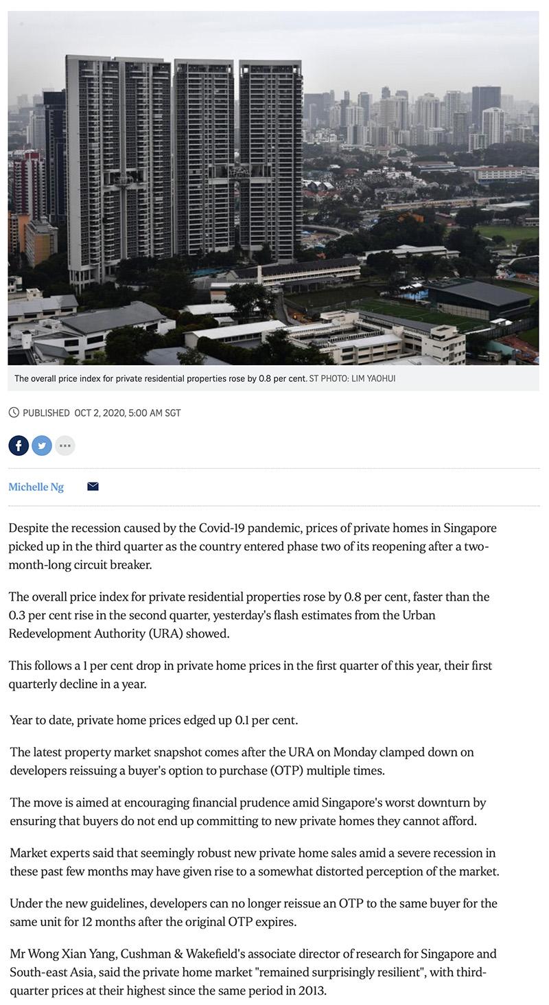 Ki Residences - Private home prices rise faster in Q3 despite Covid-19 recession 1